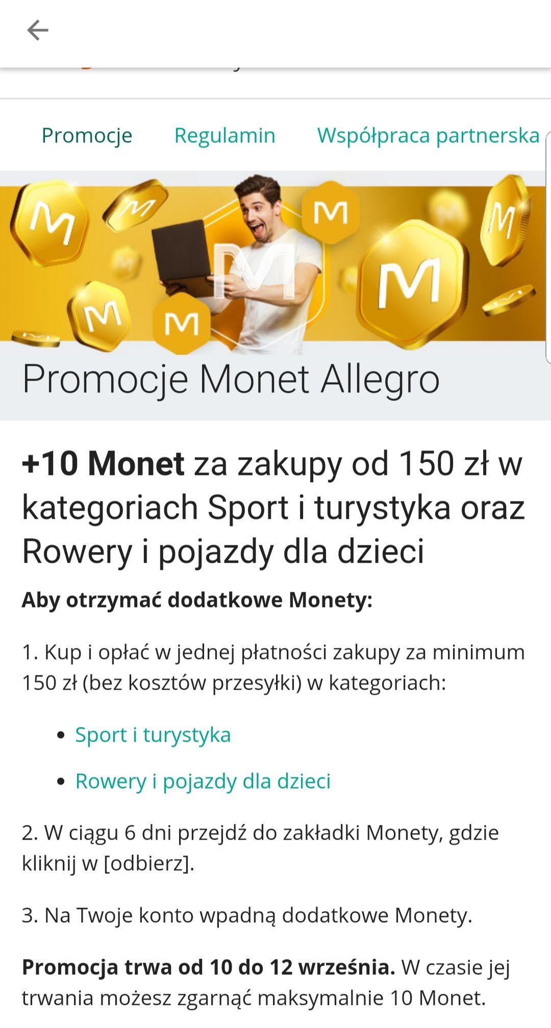 10 monet na Allegro za zakupy w kategorii sport