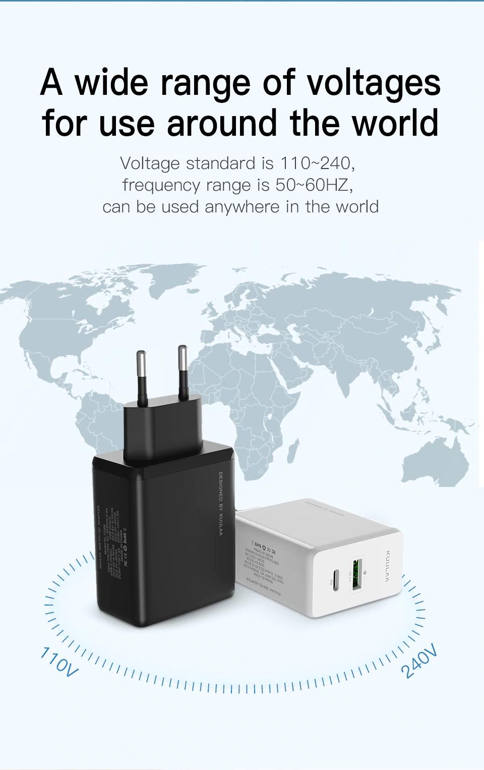 Ładowarka Kuulaa (USB z QC 3.0 i USB-C z PD) biała lub czarna @ AliExpress
