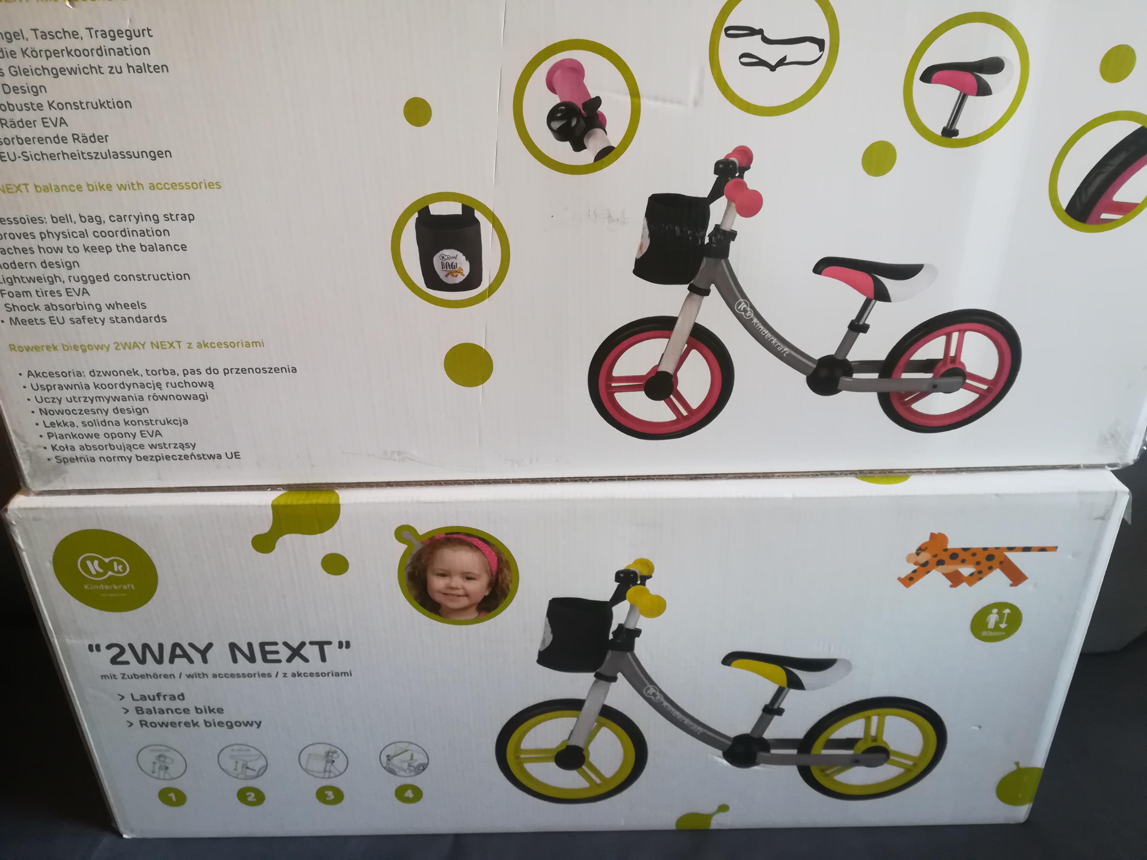 Rowerek biegowy Kinderkraft, 2Way Next z akcesoriami Tesco