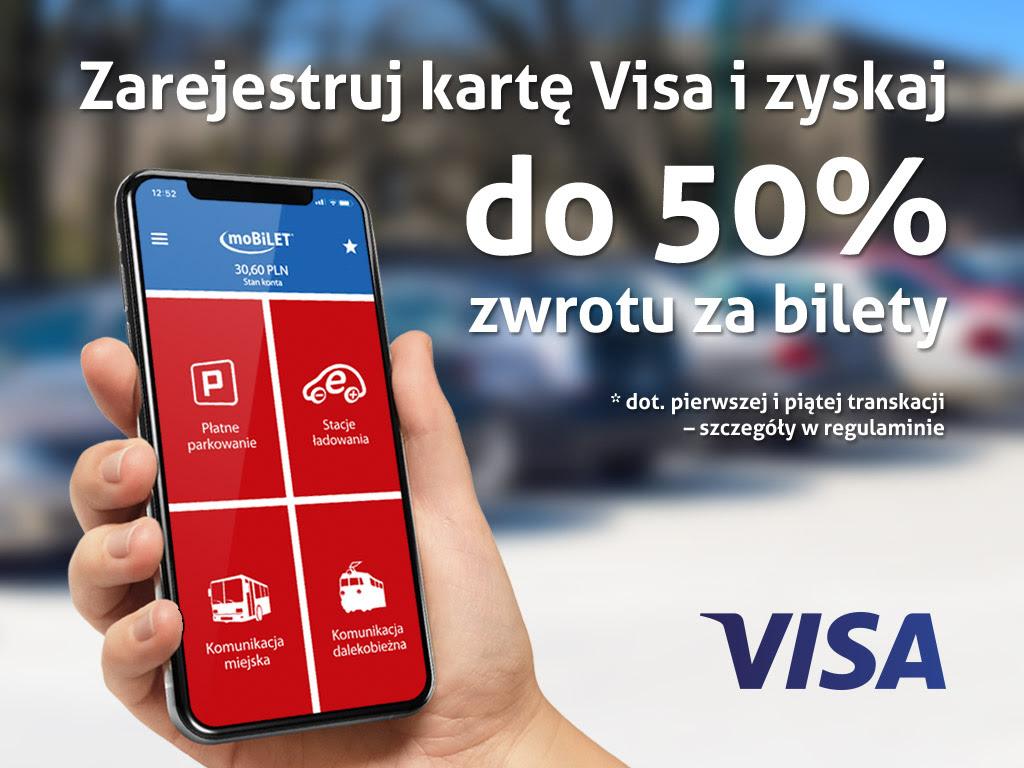 Mobilet - zarejestruj kartę VISA i zyskaj do 50% zwrotu za bilety