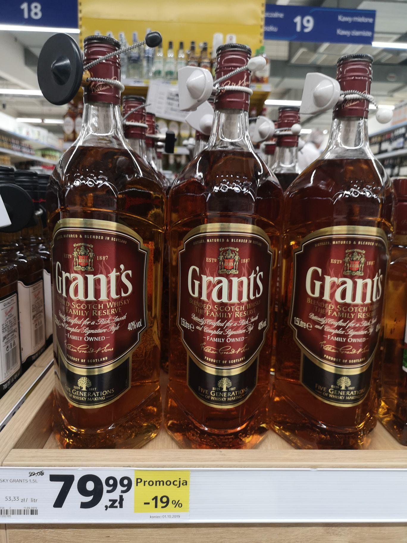 Whisky Grants Family Owned 1.5l za 79,99 Tesco Warszawa