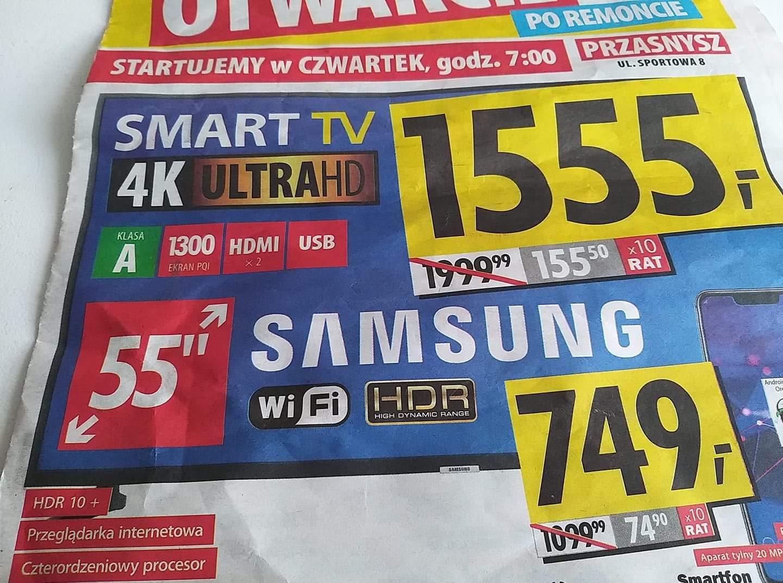 Telewizor Samsung 55 cali UE55NU7023 otwarcie Media Expert po remoncie w mieście Przasnysz raty 0%