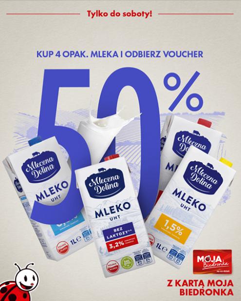 Biedronka: Voucher 50% za zakup 4 opakowań mleka