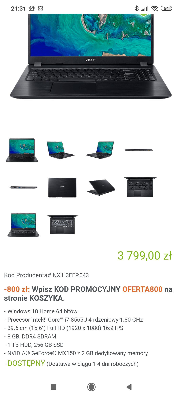 Acer Aspire 5 i7, SSD+HDD, MX150 + dodatkowo 50% na akcesoria