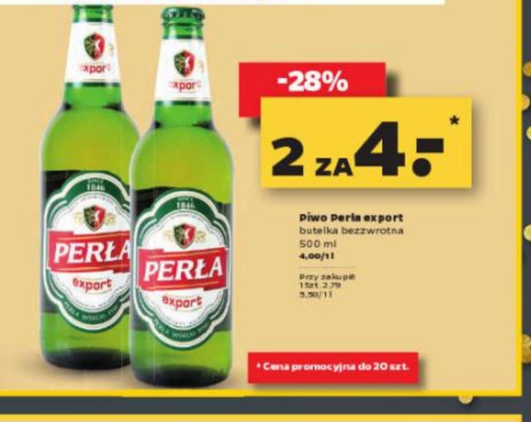 Perła Export jasne 0,5 L butelka bezzwrotna,cena przy zakupie dwóch sztuk@Netto piątek 20.09