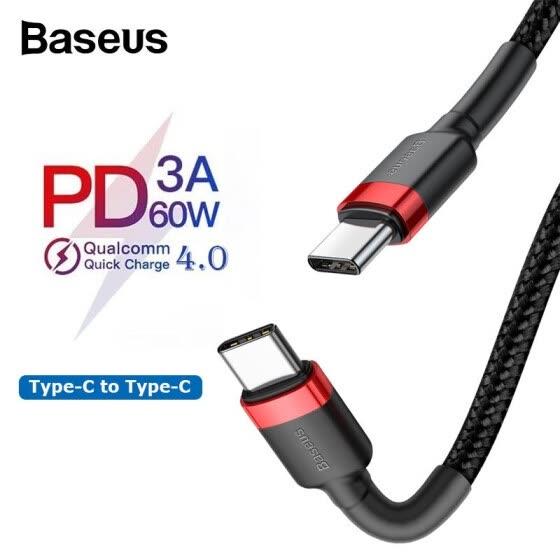 Kabel USB-C do USB-C Baseus PD 3.0 60W, czarny, 0,5m, z kodem za 0,99$