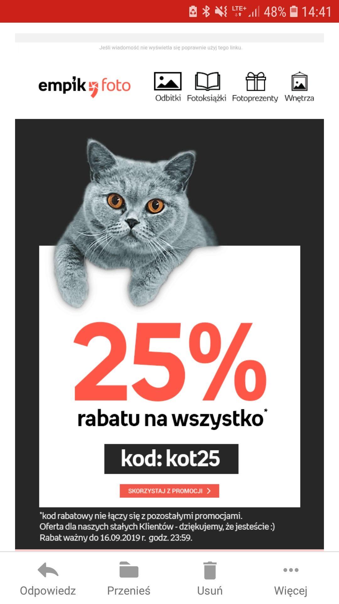 -25% dla stałych klientów na empik foto na wszystkie produkty!