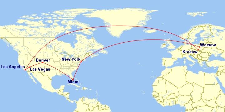 #Multicity [Nowy Jork + Miami + Denver + Las Vegas + Los Angeles] Wylot z Warszawy