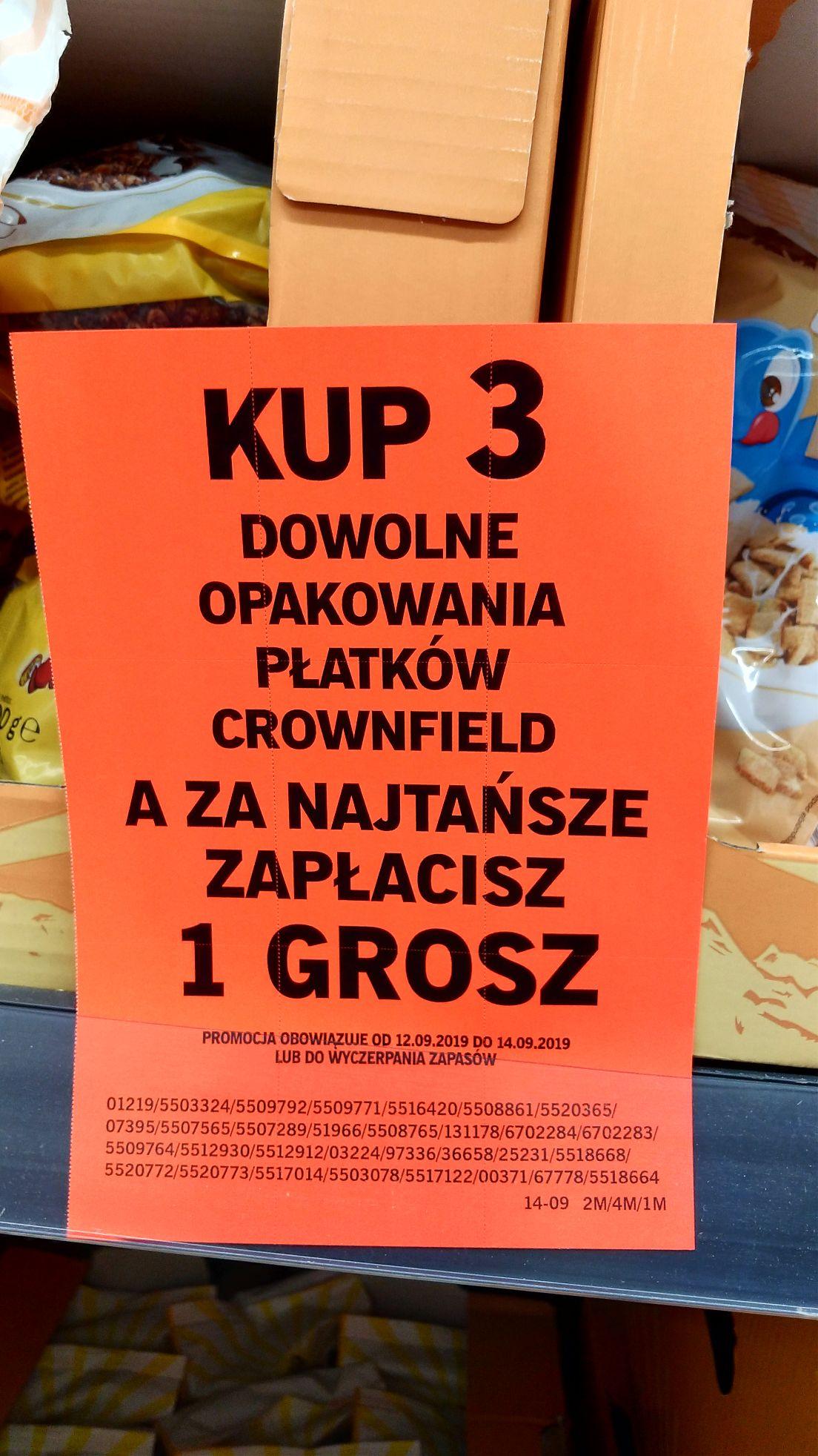 Lidl Szczecin Krasińskiego - Kup 3 paczki płatków Crownfield a najtańsze otrzymasz za 1 gr