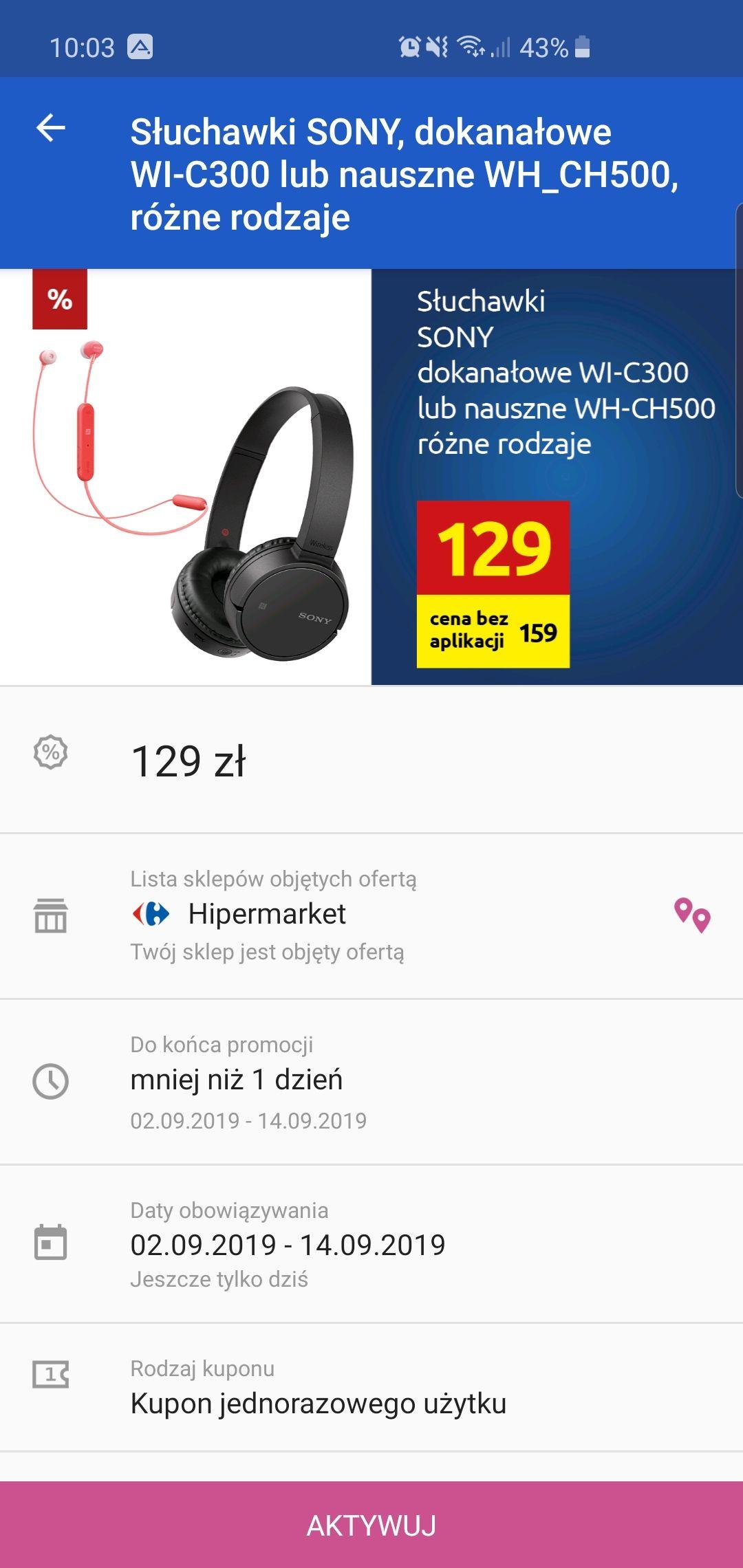 Sluchawki Sony WH-CH500 z aplikacją mój Carrefour