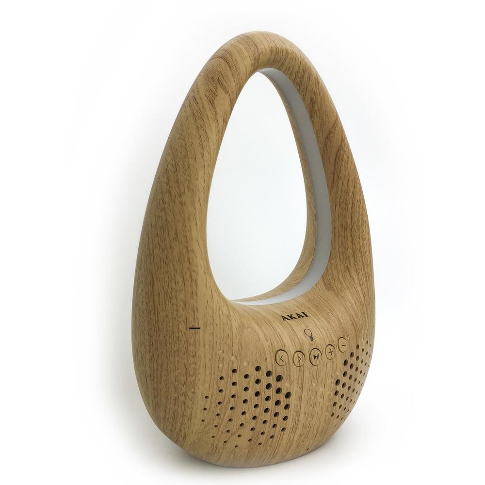 Mobilny Głośnik Bluetooth Akai ABTS-V8 drewno z LED-owym światłem