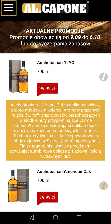 Auchetoshan 12 yo 0.7 Single Malt, sieć sklepów AL. CAPONE