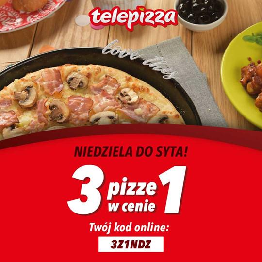 Telepizza: 3 pizze w cenie 1 w każdą niedziele