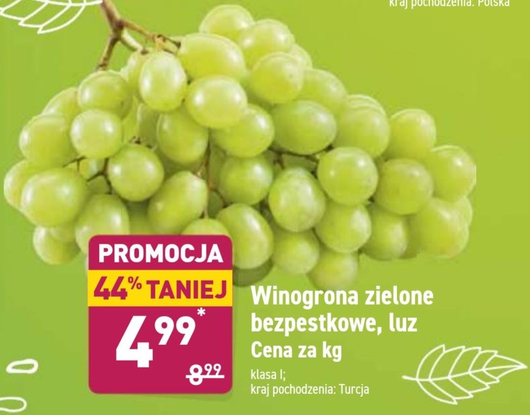Winogrono zielone bezpestkowe luz cena za 1kg@Aldi 23.09-29.09