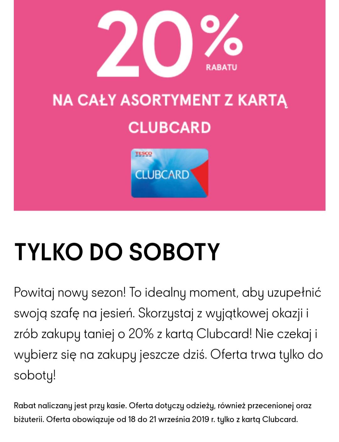 -20% na odzież F&F i biżuterię z kartą Clubcard (również na przeceniony asortyment) TESCO