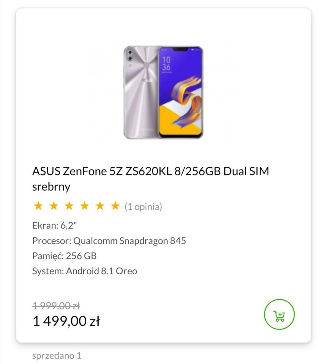 ASUS ZenFone 5Z ZS620KL 8/256GB Dual SIM srebrny X-KOM.PL