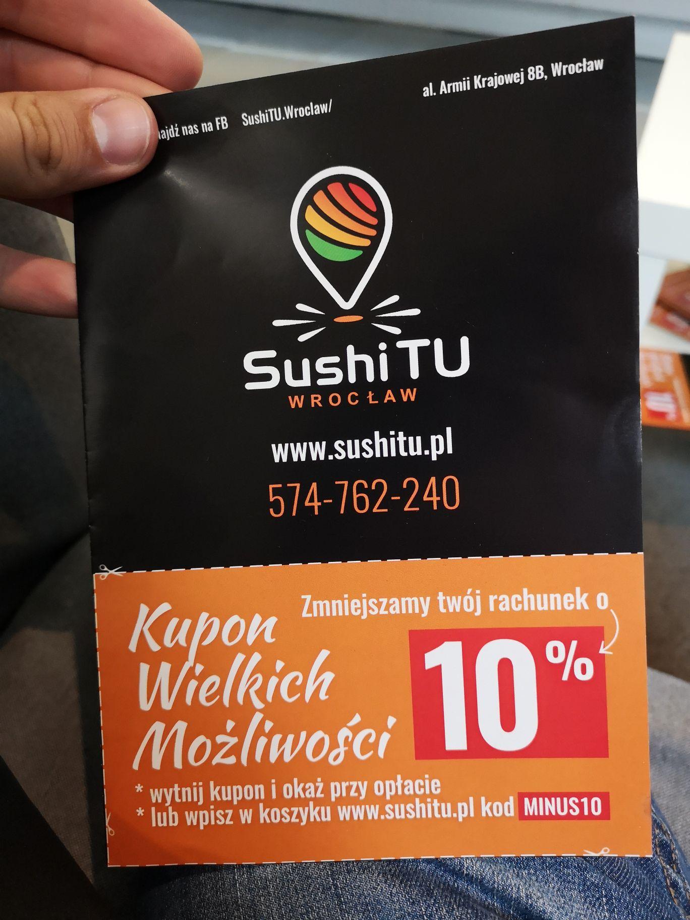 SushiTU Wrocław rabat 10% przy zamówieniu na SushiTU.pl