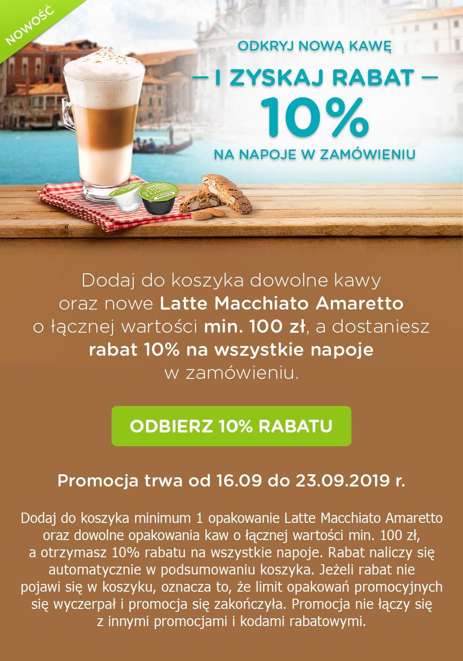 Dolce Gusto kawy 10% taniej przy zakupie Latte  Macchiato Amaretto