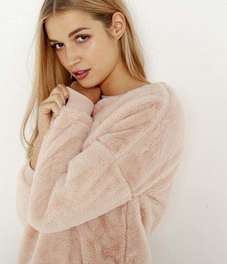 Bluza z ekologicznego futra / Pluszowa bluza Camaieu 3 kolory