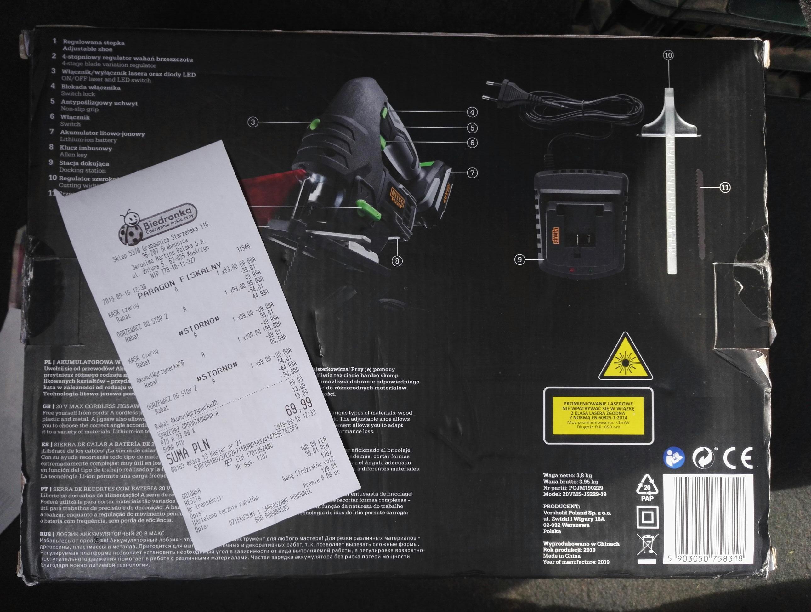 Wyrzynarka 20V akumulator W Biedronka