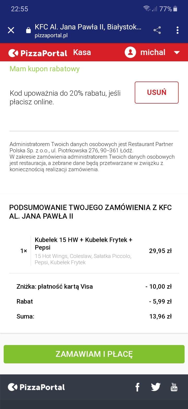 - 10 zł na Pizzaportal.pl . Minimalna wartość zamówienia 20 zł płacąc kartą Visa co najmniej drugi raz na PizzaPortal.pl
