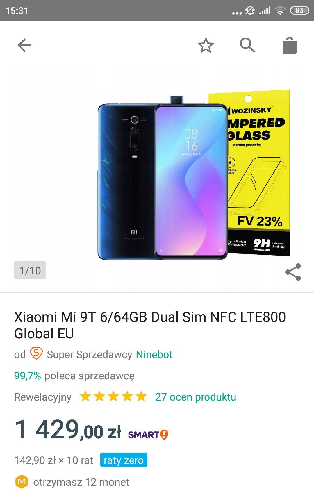 Xiaomi Mi 9T 6/64 i raty 0% z polskiej sprzedaży
