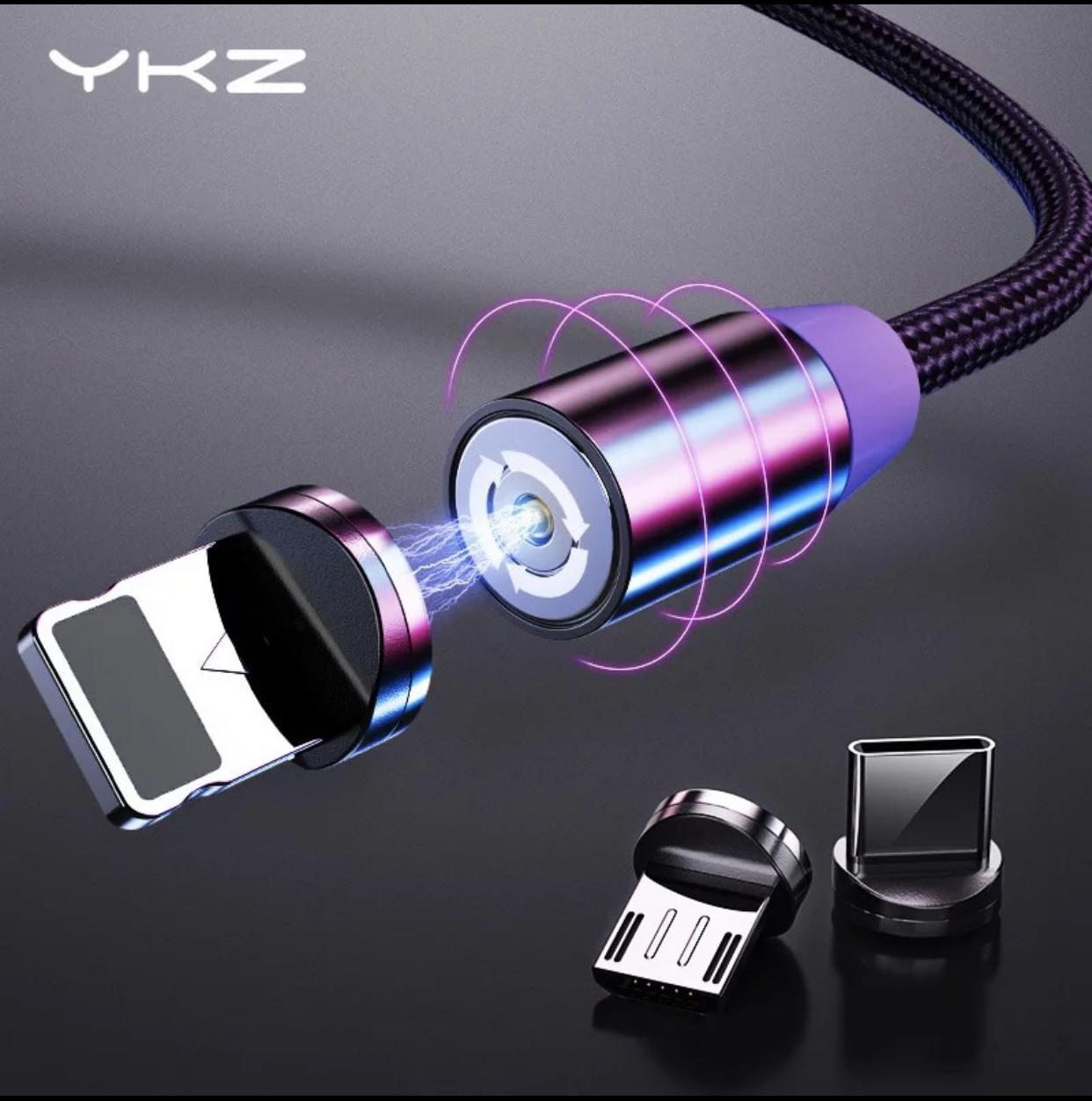 Kabel magnetyczny YKZ, 2,4A, 1m (Lightning, USB-C, micro USB)