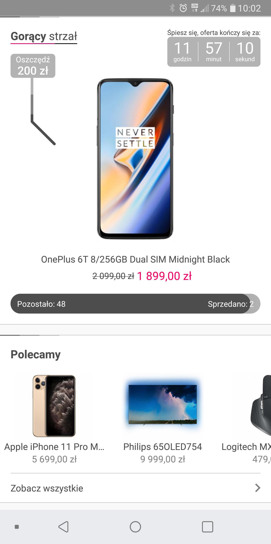 OnePlus 6T 8/256GB Dual SIM Midnight Black x-kom gorący strzał