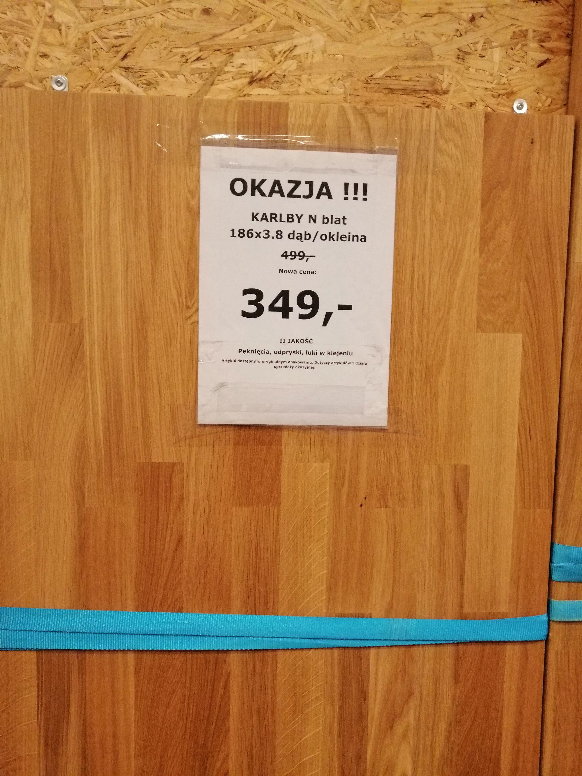 IKEA we Wrocławiu KARLBY blat dąb/okleina 186 x 3.8
