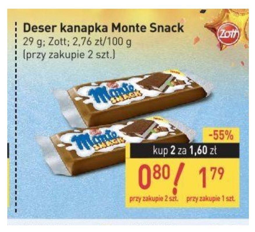 Deser kanapka Monte Snack . Dwa za 1.60zl . Stokrotka