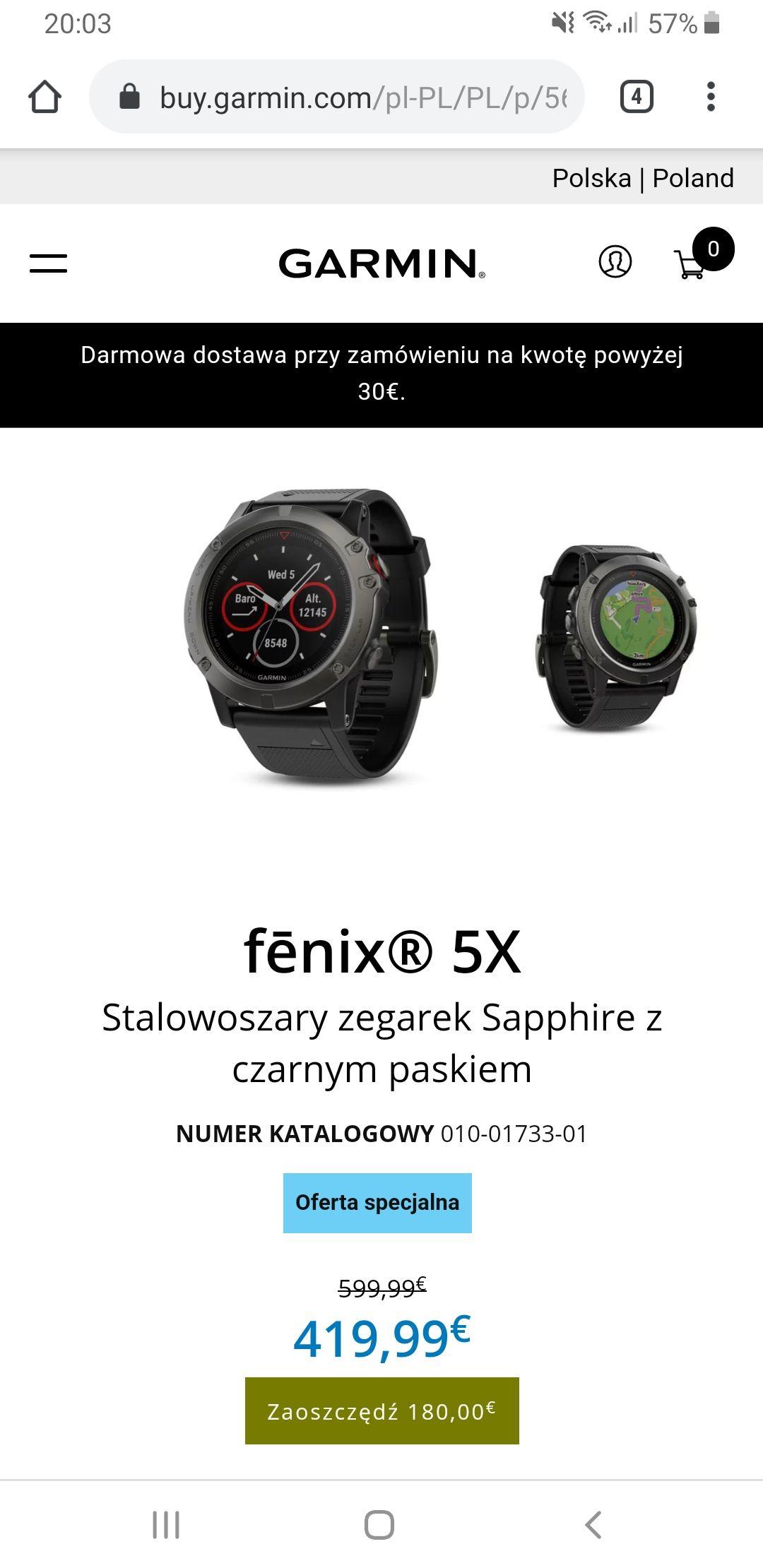 Zegarek Garmin Fenix 5X -