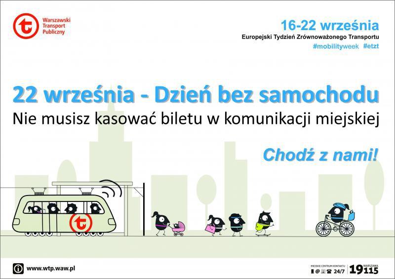Europejski Dzień Bez Samochodu 22.09.2019 [Warszawa] Darmowa komunikacja miejska