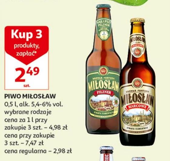 Piwo Miłosław różne rodzaje cena przy zakup 3 sztuk @Auchan