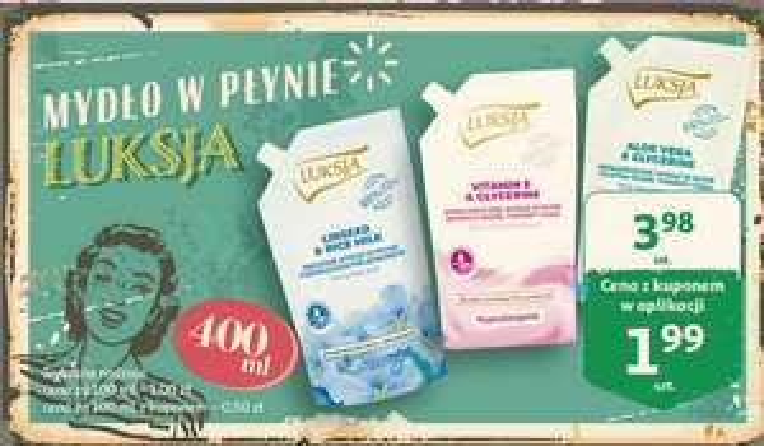 Mydło w płynie Luksja 400 ml, wybrane rodzaje, w Auchan, cena z kuponem w aplikacji