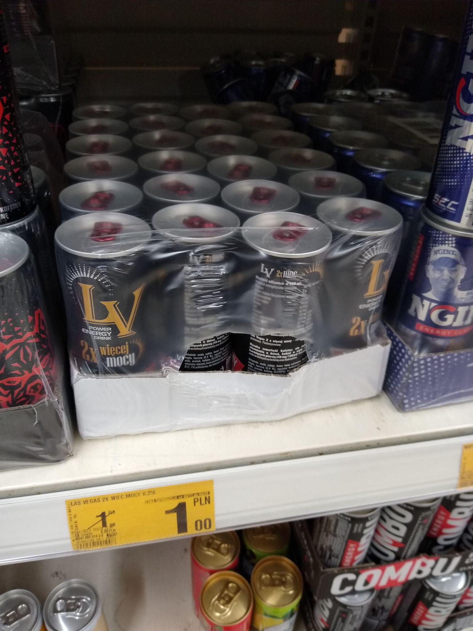 Napój energetyczny Las Vegas oraz inne napoje w puszkach- Auchan.