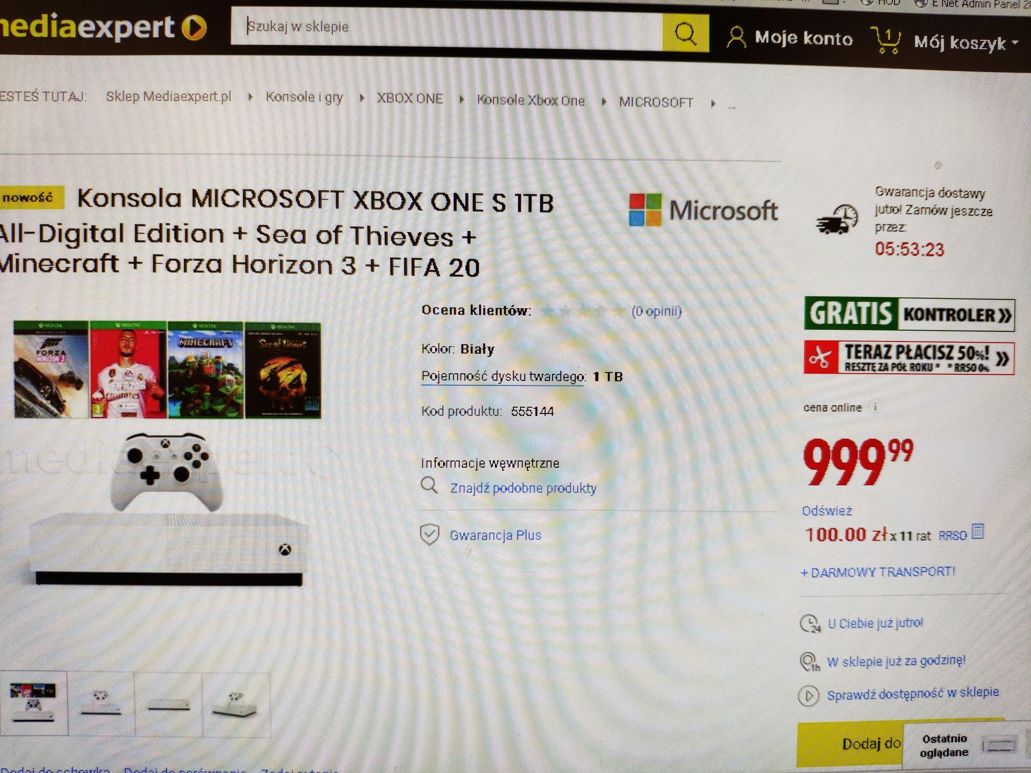 ** Możliwe 749,99 ** Xbox one S 1TB (bez napędu) + Sea of Thieves + Minecraft + Forza 3 + FIFA 20 ( kody cyfrowe) + drugi kontroler gratis