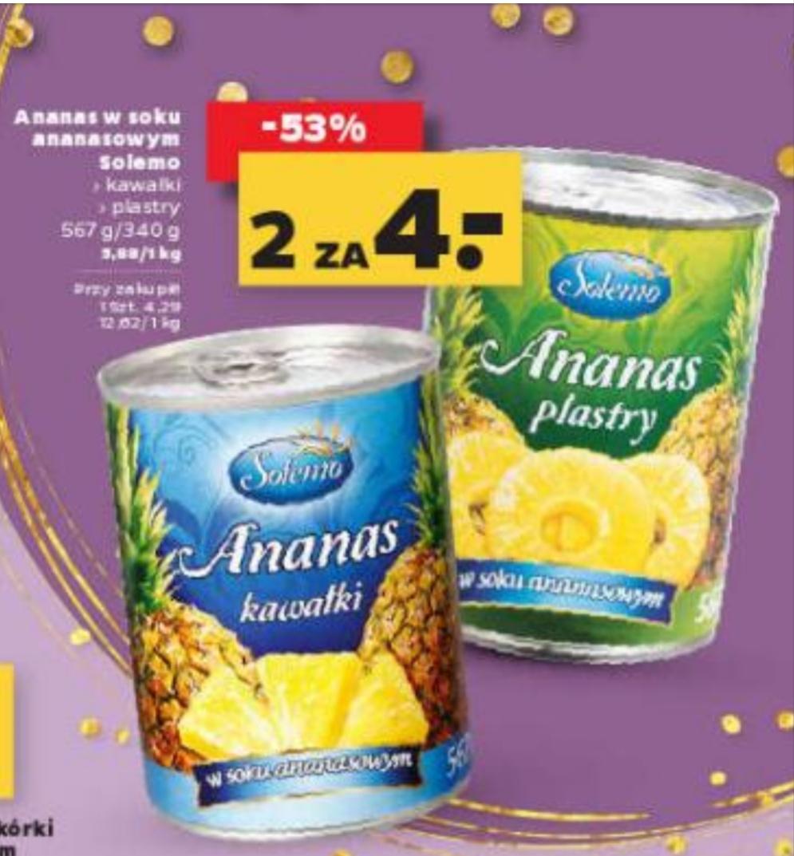 Ananas w puszce Solemo 567 g,kawałki lub plastry,cena za sztukę przy zakupie dwóch puszek@Netto 23.09-29.09