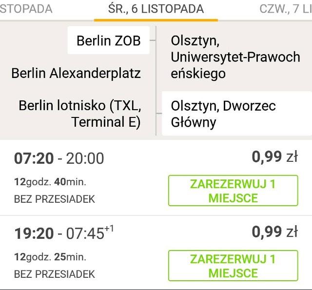 Bilety za 0,99 na dwie trasy Flixbusa