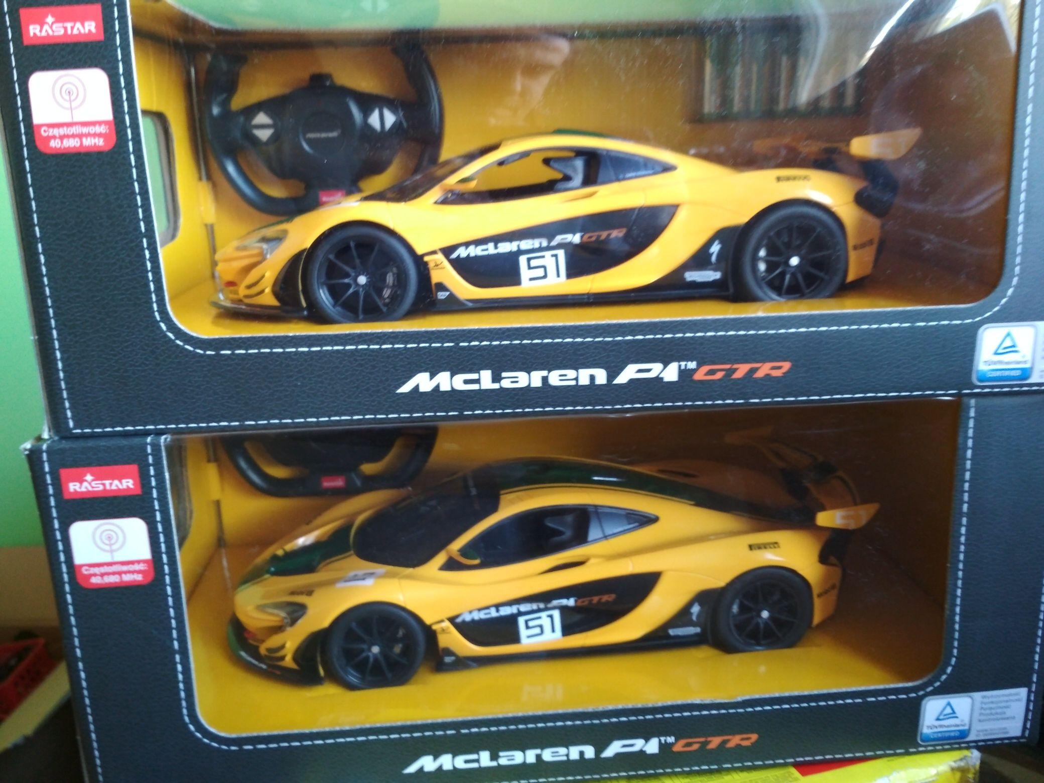Mclaren p1 zdalnie sterowany około 33 cm długości skala 1/14 rastar były jeszcze dwa czarne, BMW M5 i Mustang