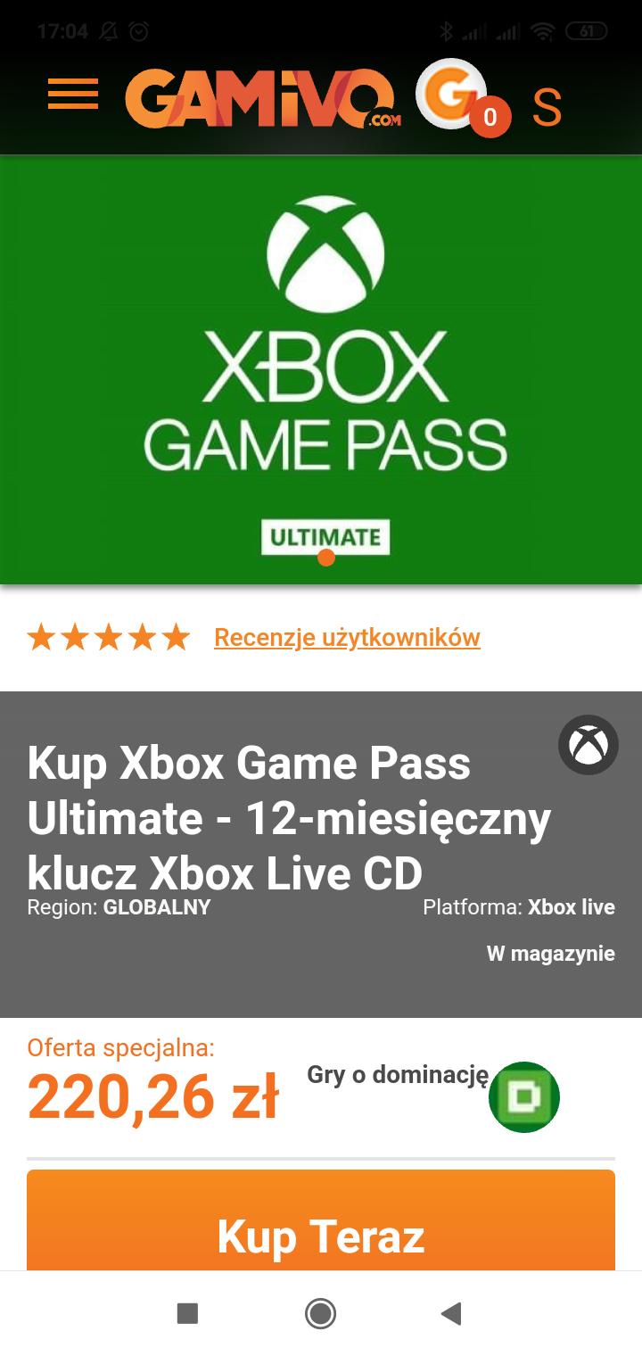 Ultimate game pass 12 miesięcy @ gamivo.com