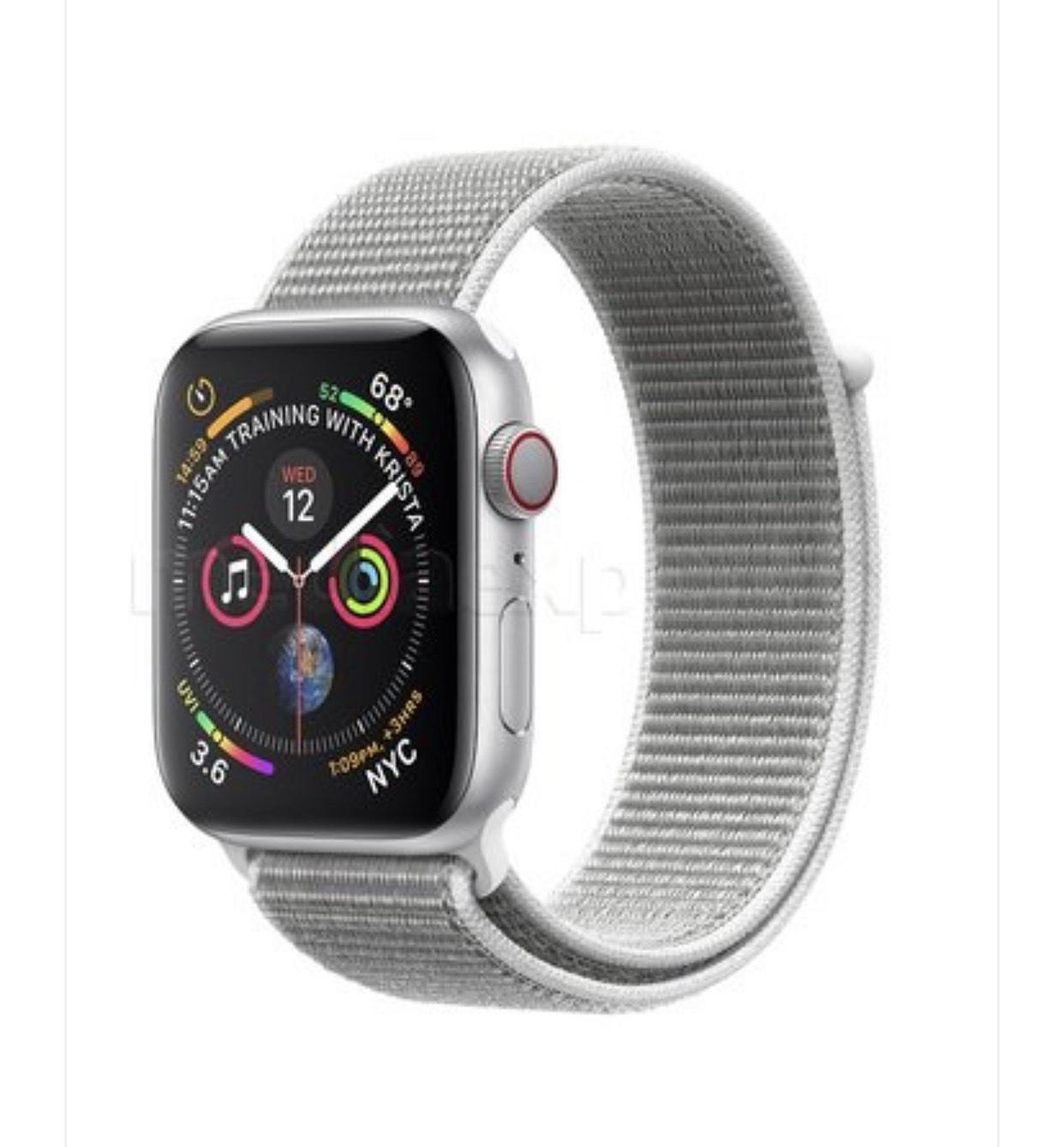 APPLE Watch 4 Cellular 44mm (Srebrny z opaską sportową w kolorze porcelanowym) Mediaexpert