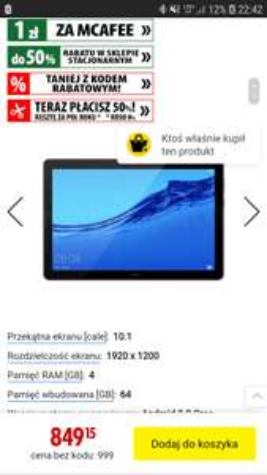 Tablet Huawei MediaPad T5 10.1 (4/64GB)