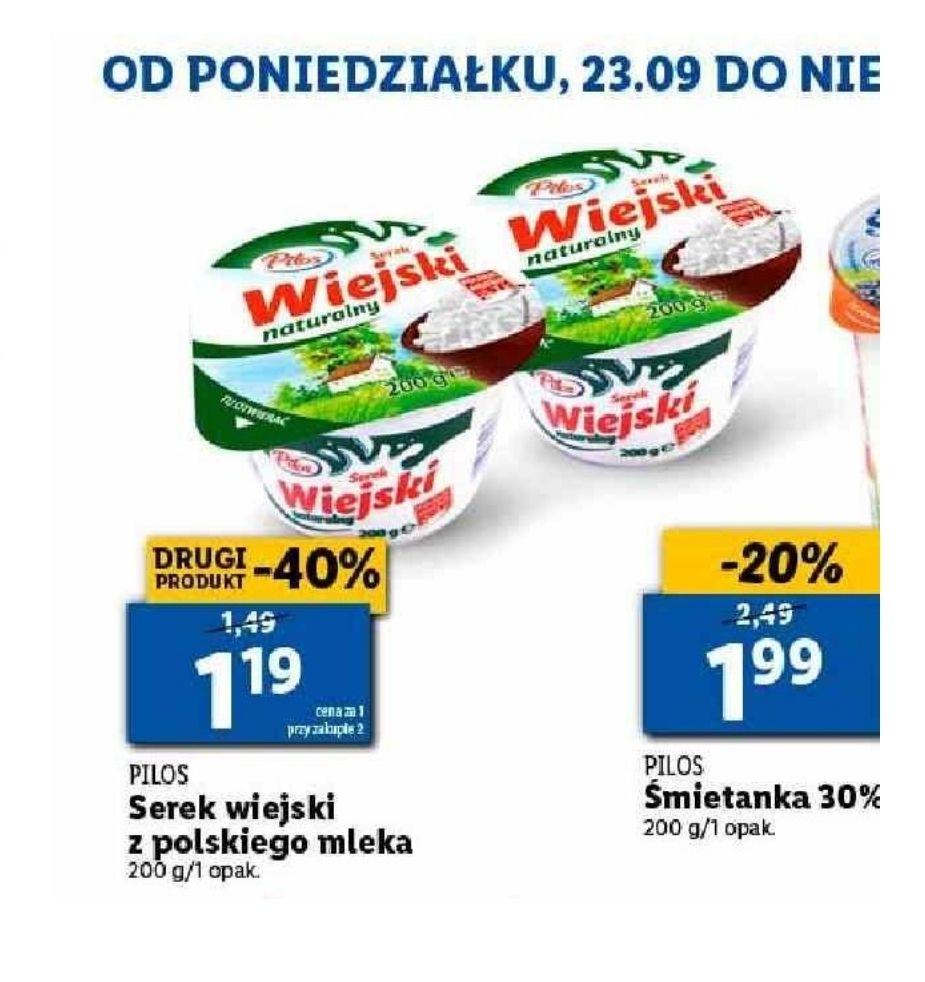Serek wiejski z polskiego mleka. Cena przy zakupie 2 sztuk. Lidl