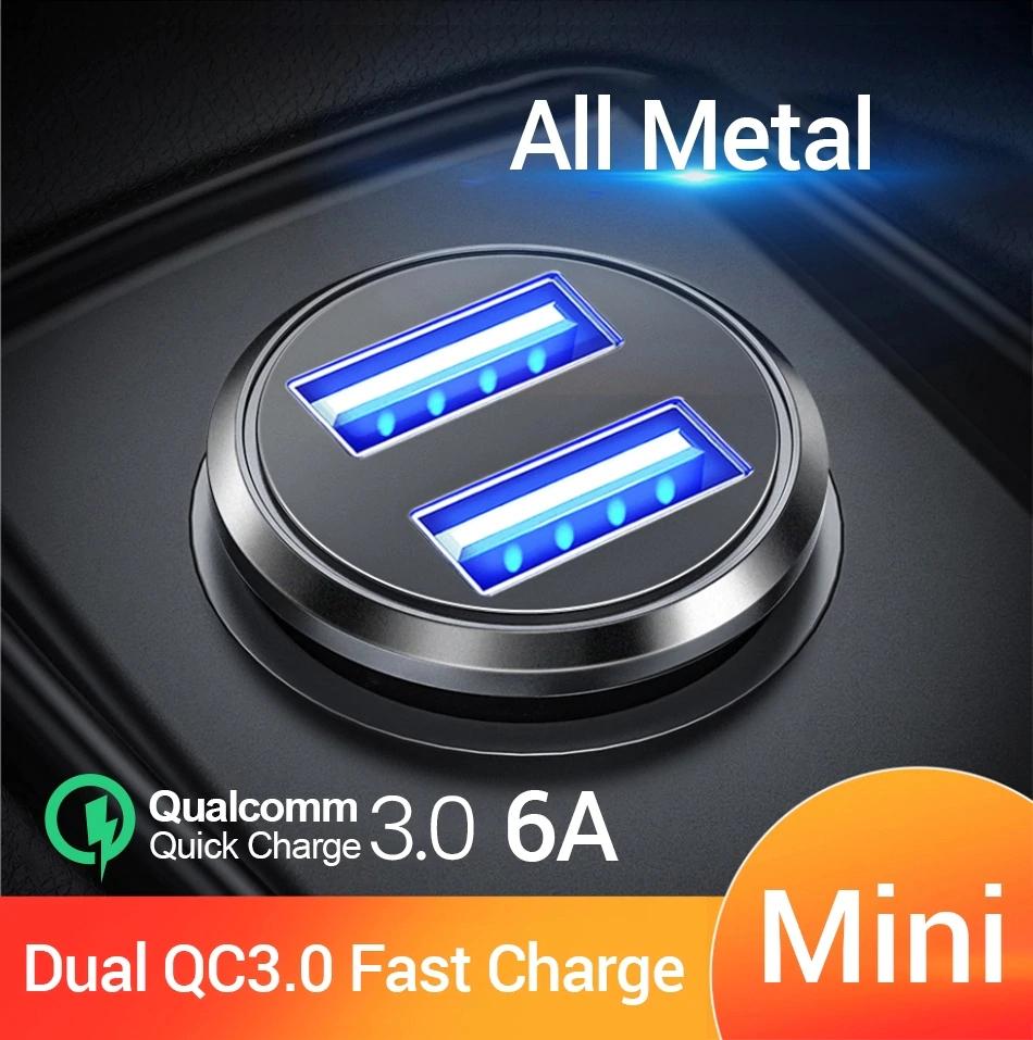FIVI ładowarka samochodowa podwójna ładowarka QC 3.0 ładowarka USB