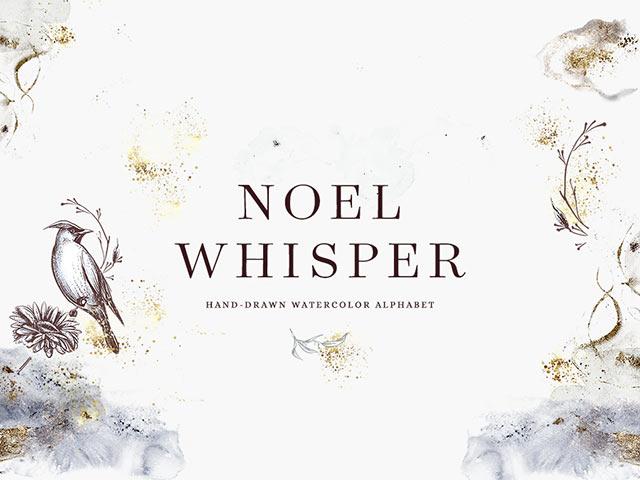 Akwarelowy świąteczny alfabet (grafiki nie fonty) do użytku osobistego Noel Whisper Watercolor