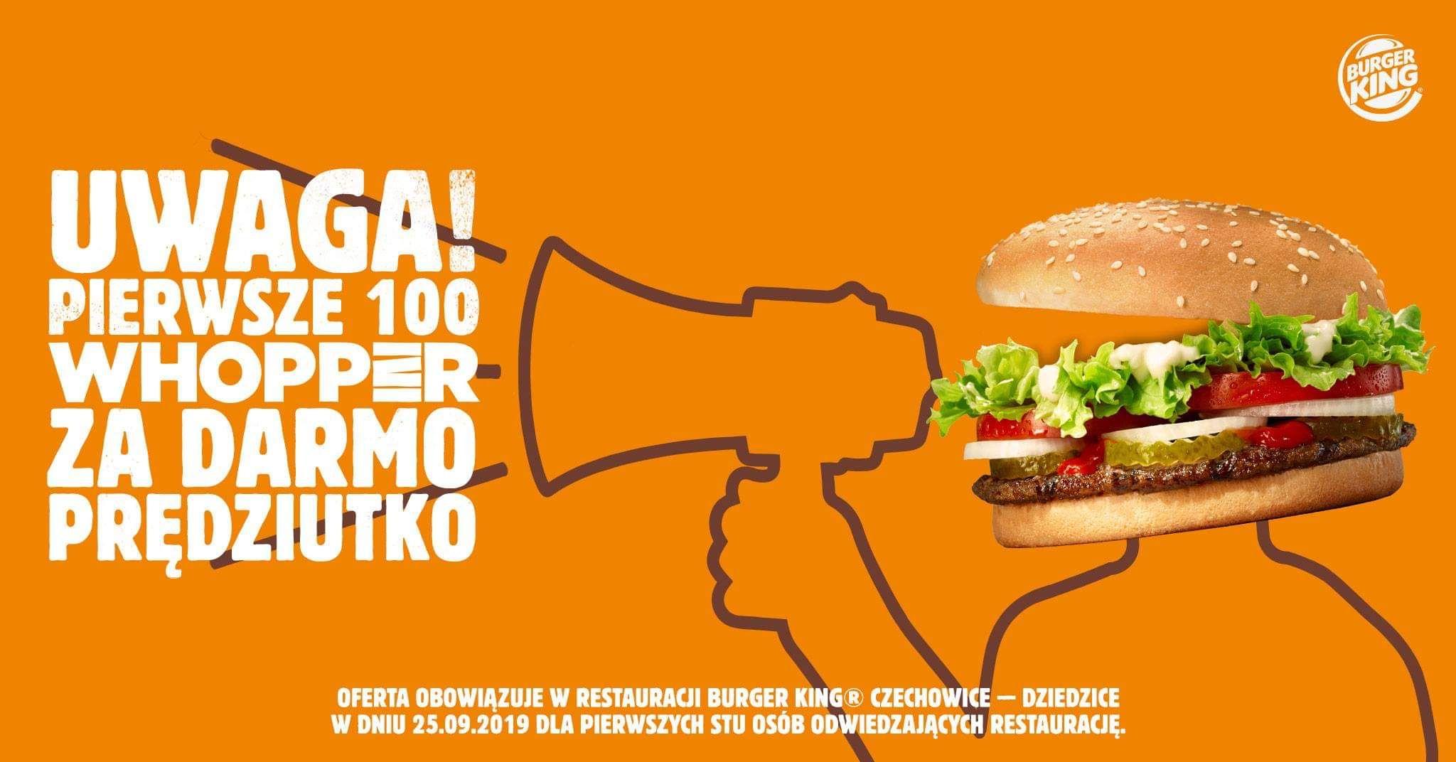 Pierwsze 100 Whopperów za darmo @Burger King Czechowice-Dziedzice