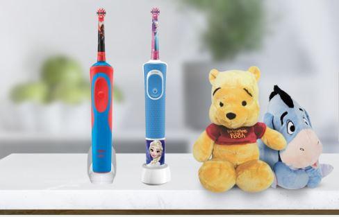 Szczoteczka elektryczna Oral-b + maskotka Disney w obniżonej cenie (Kubuś puchatek lub Kłapouchy)