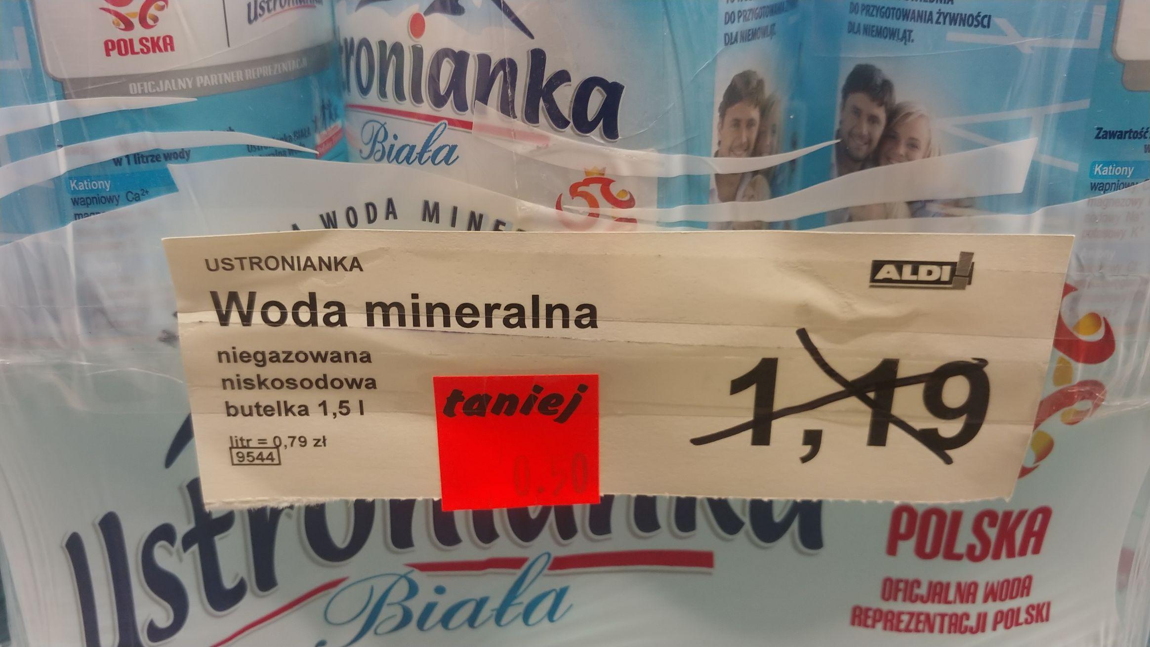 Woda mineralna 1.5l niegazowana Ustronianka Biała Niskosodowa Aldi