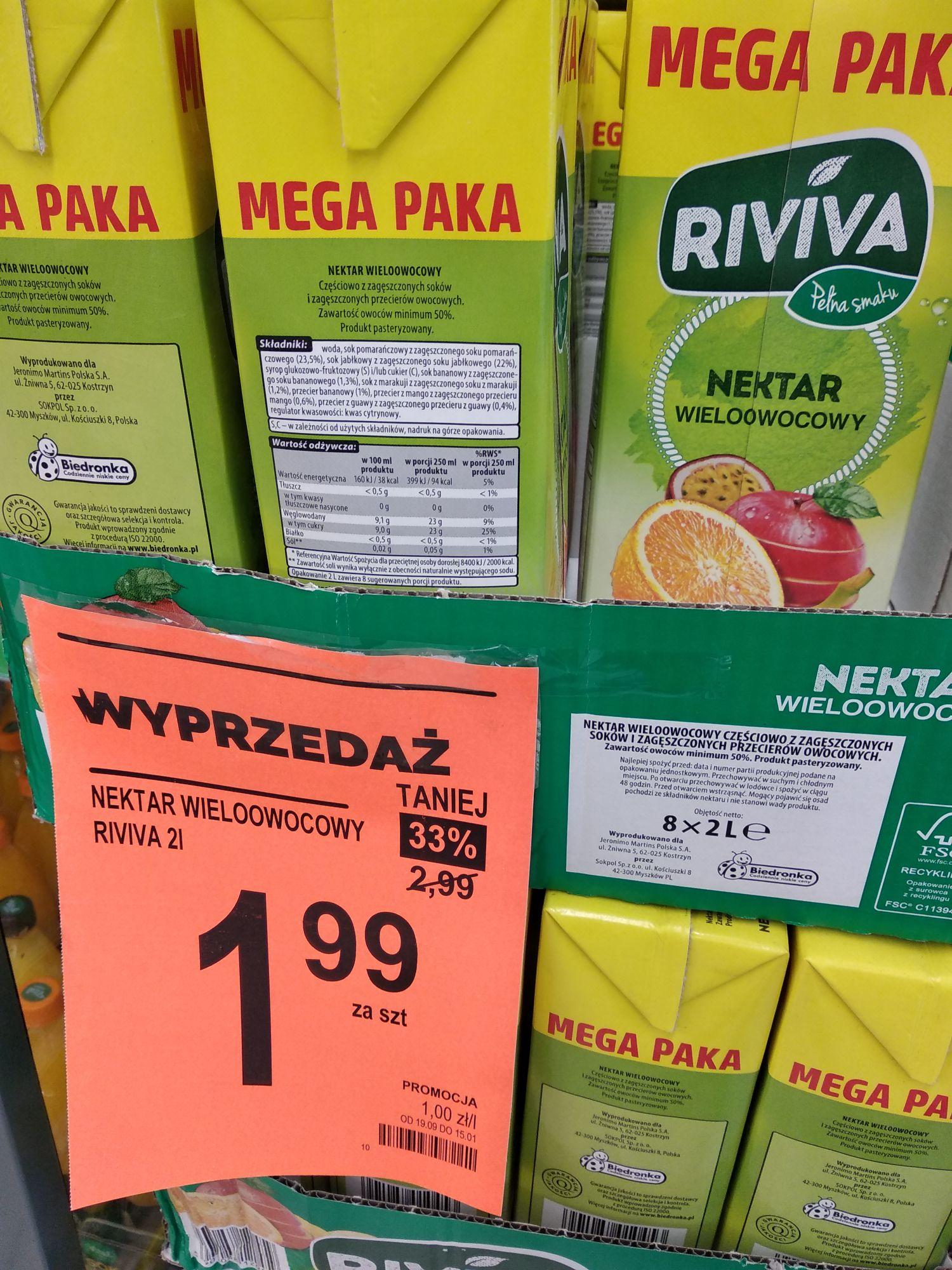 Napój Riviva 2 l ; Chude mięso mielone z szynki wieprzowej 500 g ; Jaja 30 szt  - Kraków Biedronka ul. Łokietka