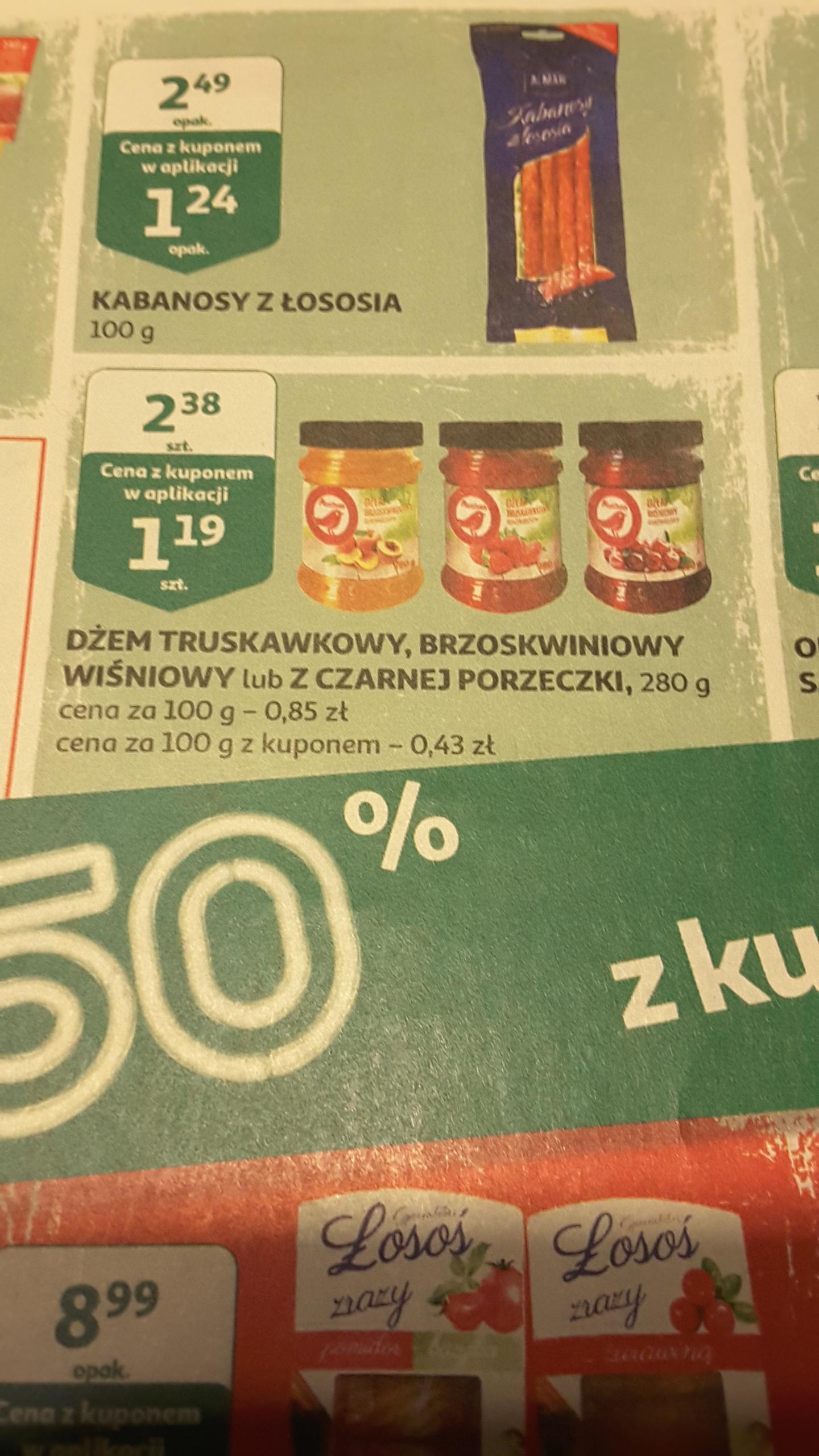 Dżem truskawkowy, brzoskwiniowy lub wiśniowy, Auchan